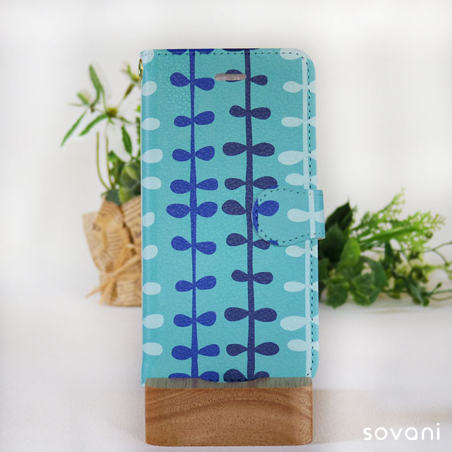 すくすく育つ ブルー 手帳型スマホケース