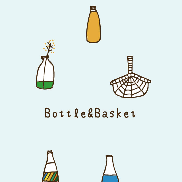 【北欧】パターン スマホ壁紙 ホーム/ロック画面 無料ダウンロード ボトルとバスケット