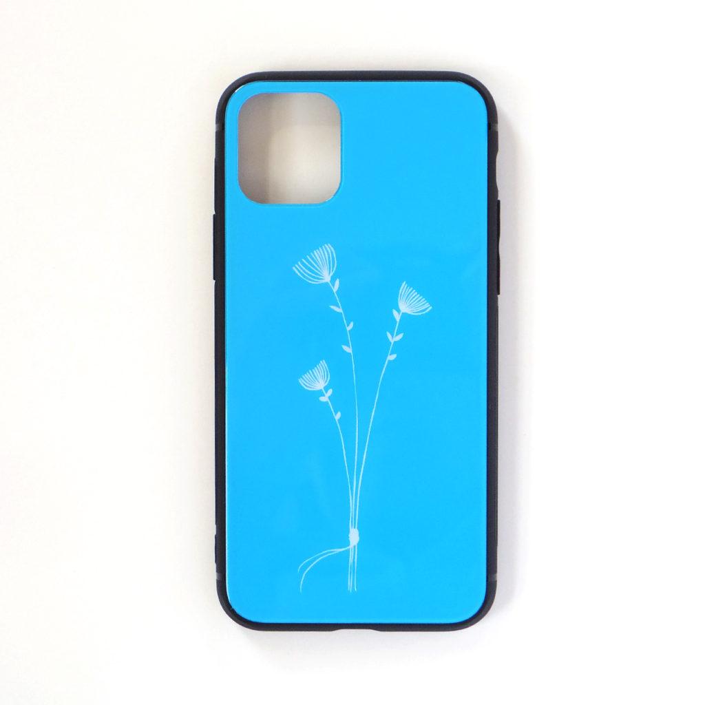 *NEW* 3本の花束・ブルー 背面ガラスケース