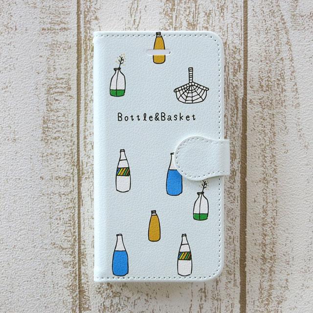 ボトルとバスケット・手帳型スマホケース