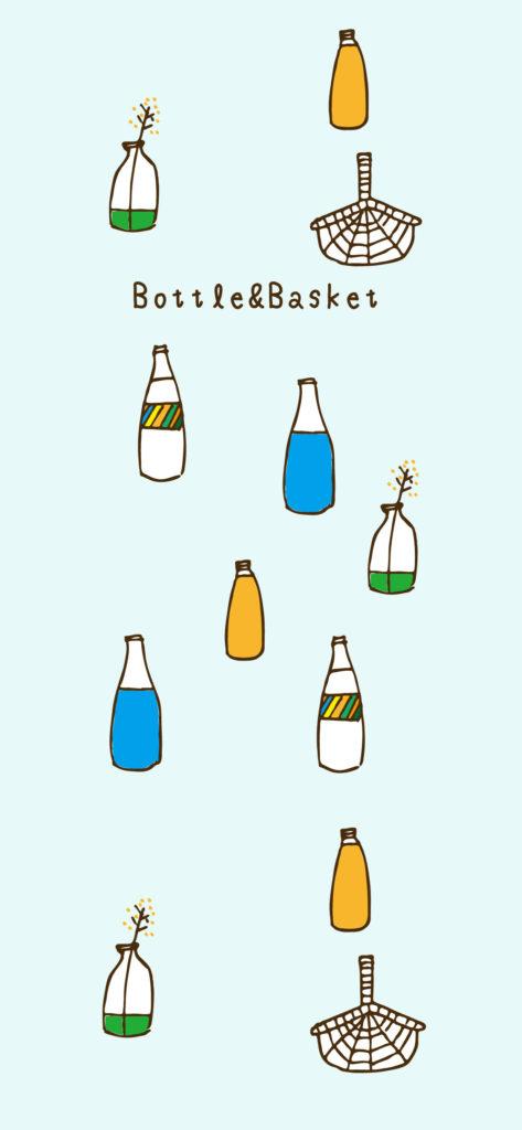 ボトルとバスケット背景画像