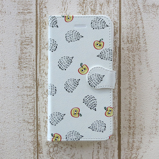 ハリネズミとりんご 手帳型スマホケース iPhone/android